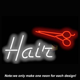 Wholesale Hair Neon Sign with Animated Scissors Neon Bulbs Recreation Room Custom Design Gifts Real Glass Tube Guarant Store Display x20