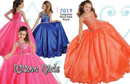 New Flower Girls' Dresses Little Girl Formal Gown With Straps Pink Royal Ball Gown Crystal Floor Length Organza Cheap