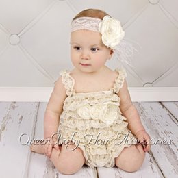 Baby Girl Petti Romper Matching Flower Sash and Baby Headband set Vintage Chic Romper 4set lot