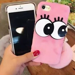 2017 new style five colores pink white purple rose red gery big eye ball plush 100%pc soften edge back cover type lovely i phone shell
