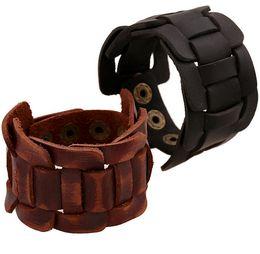 Leather Bracelet 22*4 cm Vintage cuff bracelet Black Brown Genuine Leather Wide Cuff For Women Men's Bracelet Pulsera Leather bangle
