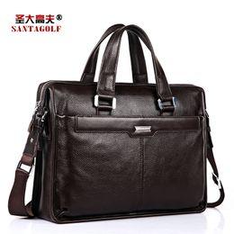Wholesale-SANTAGOLF new business man bag leather handbag shoulder bag cross section Messenger bag computer bag AS095