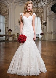 Wholesale 2015 Justin Alexander Latest Mermaid Wedding Dresses White Sweetheart Capped Sleeveless Deep V Back Brush Train Covered Button Wedding Gowns