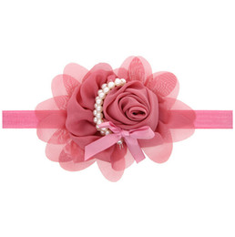 The new pearl roses with baby hair of children in bright elastic hair band