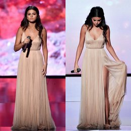 Wholesale 2016 American Music Awards Selena Gomez A Line V Neck High Split Formal Evening Celebrity Dress Backless Long Champagne Prom Dresses