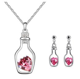 Wholesale Fashion K white gold plated adrift bottle austria crystal women earrings pendant necklace bride wedding Jewelry Sets