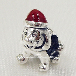 2015 Winter 925 Sterling Silver Christmas Puppy Charm Bead with Red Enamel Fits European Pandora Jewelry Bracelets & Necklace