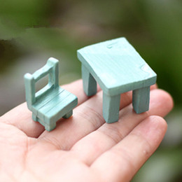 Cute artificial chair and table Ornaments miniatures for fairy garden gnome resin crafts bonsai bottle garden decoration