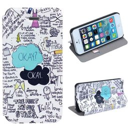 Wholesale 2014 new arrivel OKEY Letter Graffiti Pattern Hard Leather Case Cover for iphone S G