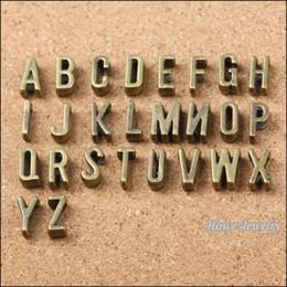 26 letters A-Z European beads Vintage Antique Bronze fits rope leather rope slide leather bracelet accessories production 390 pcs lot 10090