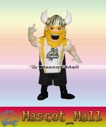 Wholesale MALL270 Professional Custom Viking Mascot Adult Costume Spartan Knight Brave Yellow Hair Beard Viking Warrior Mascotte Fancy Dress Adult