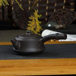 Wholesale Teapot Yixing purple sand kettle kongfu tea set side put pot new style hand pull tea tool cc Freeshipping