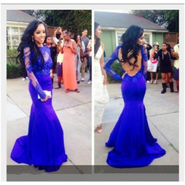 Amazing Long Royal Blue Long Sleeve Lace Chiffon Mermaid Prom Evening Dresses Boat Neck Backless Gowns Vestidos 2018