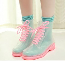 Wholesale Style Lovely lady Crystal Boots PVC transparent candy color thick bottom tie fashionable and beautiful non toxic good texture good air