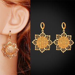 Sunflower 18K Gold Plated Drop Earrings For Women Hot Sale Dangling Fashion Jewelry Gift For Her