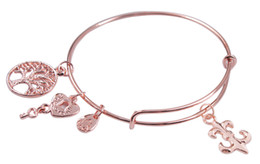 Rose Gold Color Expandable Wire Charm Bracelet Bangle #91173-91182