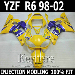 7 gifts Injection molding for YAMAHA R6 fairing kit 1998 1999 2000 2001 2002 CAMEL yellow blue YZF R6 98-02 fairings BYT33