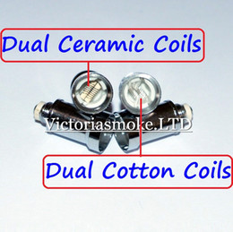 Cheapest Dual Coil For Wax Glass Globe Atomizer Clearomizer Double Ceramic Rod Coil Titanium Wick Glass Globe Replacement Coil Head eCigs