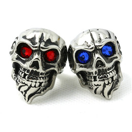 Wholesale Price Crystal Eyes Skull Ring 316L Stainless Steel Punk Style Band Party Cool Man Beard Skull Ruby Eyes Ring