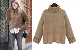 Wholesale Woman sweaters sexy pullover high neck long sleeve thicken sweaters European styles for winter and autumn