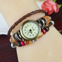Wholesale Factory direct foreign trade national wind retro bracelet watch ladies watches antique watches brown colored wooden beads