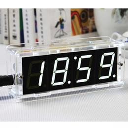Wholesale New DIY Kit Digital Electronic Microcontroller Alarm Clock Settings Acrylic LED Mini Desks Clock Large Screen Display Time
