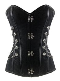 Women's Brocade Buckle Steampunk Gothic Punk Faux Leather Steel Boned Corset with Chain Plus Size Waist Training Corsets S-6XL