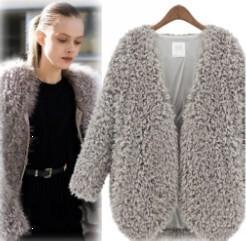 New 2014 Autumn Winter Coat Women Fur Fashion Women Fur Coat Knitwear Long Sleeve Loose Faux Fur Cardigan Jacket