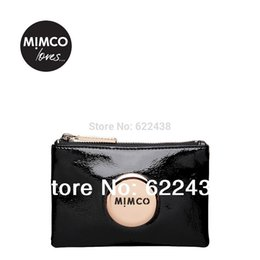Wholesale FREESHIPPING MIMCO BLACK PATENT ROSEGOLD BADGE LOVELY SMALL MIM POUCH COIN POUCH PHONE POUCH TOP QUAILITY