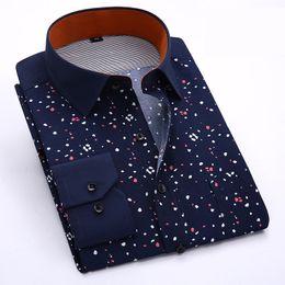 Wholesale-Mens Dress Shirts 2015 New Arrival Long Sleeve Floral Printing Formal Shirt Men Plus Size 4XL Men Businesse Shirts Camisa Xadrez