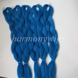 Wholesale Kanekalon Jumbo braids hair Extension inch Folded g Solid DARK CERULEAN Color Xpression Synthetic Braiding Hair Senegalese Twist T4330