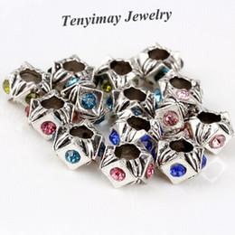 Mixed Color New Arrive Retro European Charm Beads DIY Wheel Shape Rhinestone Big Hole Beads 100pcs Wholesale