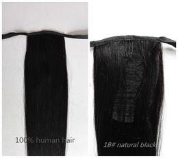 Extensiones de cabello humano del pelo 100% de la cola de caballo 1B # Negro natural 16