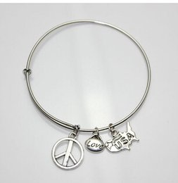Wholesale TS660 silver simple wiring Alex and Ani Initial alphabet Love Friend Family peace symbol Bangle bracelets for women