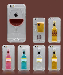"""Creative Beer Cup Bottle Wine Glass Cocktail Back Cover For iphone 6 4.7"""" Phone Case Clear PC Plastic Protective Shell"""