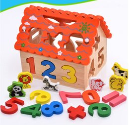 Wholesale Funny wooden toy educational wisdom house learning shape number digital color box knock ball hammer matching game baby toddle kids toy hot