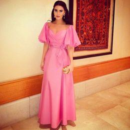 2015 Vintage Pink Prom Dresses Half Sleeve Floor Length Formal A-Line Evening Prom Dresses Orenda Celebrity Gowns dhyz 02