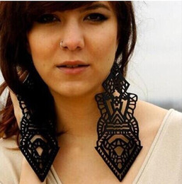 European Fashion Exaggerate Hip Hop Jewelry Acrylic Big Long Dangle Earrings For Women Gold Silver Black