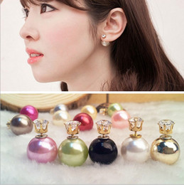 Wholesale Double sided pearl crystal zircon diamond earrings silver plated candy ball Stud Earrings statement fashion jewelry cc earings for women