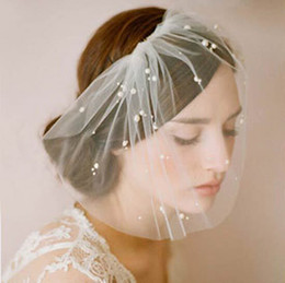 Charming Ivory Tulle Bridal Tiaras Bohemia Hair Accessories Faux Pearl Headband Wedding Accessory Girls Party Headwear Bride Hair