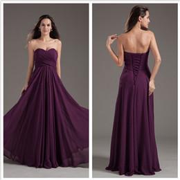 Wholesale 2015 purple bridesmaids dresses Elegant A Line Sweetheart Sleeveless Floor Length Chiffon With Lace up Cheap Bridesmaid Dress Under