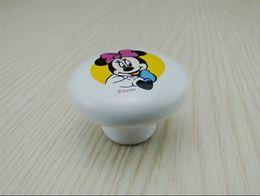 Wholesale Fashion Ceramic Minnie Cartoon Furniture Handles White Mouse Children Modern Mice Kitchen Drawer Bedroom Cabinet Door Knobs Pulls
