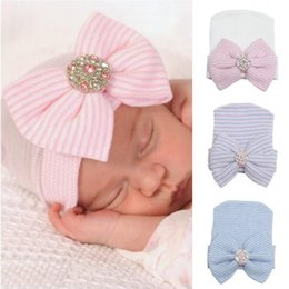 Wholesale Newborn Baby Cute and Pretty Beanie Hat With Big Bow Baby Infant Girl Soft Warm Hospital Cap for Month