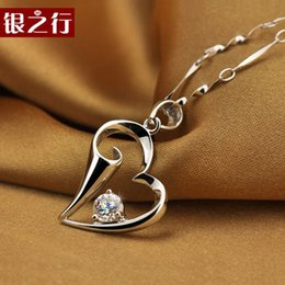 Wholesale Silver Line Collectibles Korean Fashion Peach Heart Lily necklace female silver necklace female