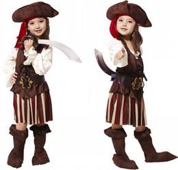 Lovely Girls Halloween Caribbean Pirate Costumes Kids Halloween Carnival Party Pirate cosplay Costumes for 4-12Y Children Kids Girls