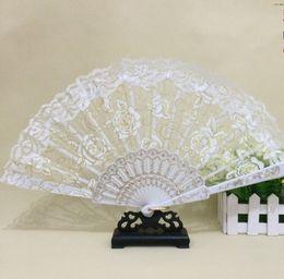 Wholesale Wedding Fans Handmade Chinese Popular wing chun fan dance White rose bud silk fan Bridal Accessories