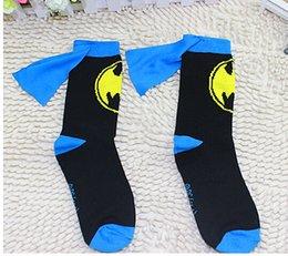 Wholesale cildrens socks Superman Batman Captain America Socks Knee High With CAPE baby colors boys Sports Socks