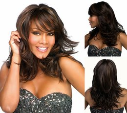 Wholesale hair products Long black wigs with bangs Wavy Synthetic african american wig for women False hair SW0047
