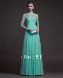 New Jewel Sexy Sheer Crew Neckline 3 4 Long Sleeve Chiffon Formal Evening Dresses Prom Dresses Chiffon