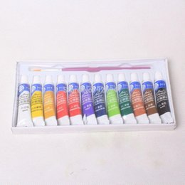 Wholesale 12 Color ml Paint Tube Draw Painting Watercolor Set Free A Paint Brush